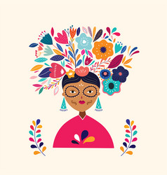with mexican woman vector image