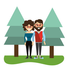 woman and man wearing glasses with casual clothes vector image