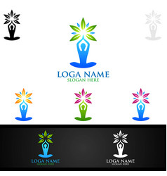Yoga and lotus flower logo with health spa vector