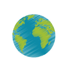drawing earth planet world image vector image vector image
