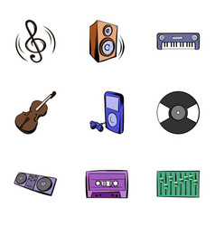 playing music icons set cartoon style vector image vector image