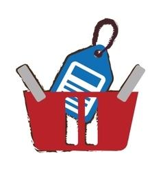 red basket basket buying online price tag sketch vector image