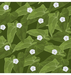 Seamless background with green leaves and flowers vector image