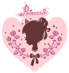 silhouette head of the girl the princess vector image