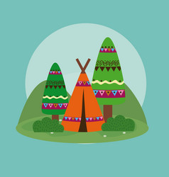 tents in forest vector image