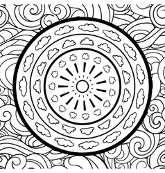 Clouds and mandala seamless pattern vector image vector image