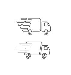 Delivery truck icon line fast shipping cargo van vector image vector image