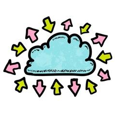 Doodle media cloud with arrows vector image