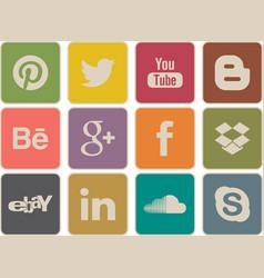 retro social media icons vector image