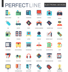 set of flat electronic devices icons vector image vector image