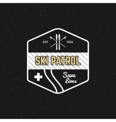 Ski patrol patch Vintage outdoor design with vector image vector image