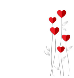 valentine card with heart flowers made of vector image