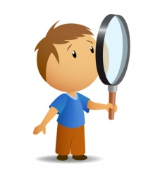 boy with magnifer vector image vector image