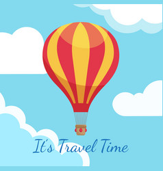 cartoon hot air balloons in blue sky with clouds vector image