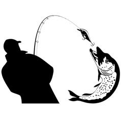 Fishing fisherman and pike vector