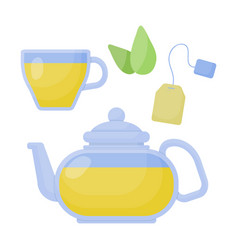 green tea flat icon set vector image