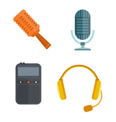 microphone icon isolated interview music tv vector image vector image