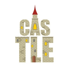 Castle with Red Tower Letters from the stones vector image