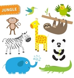 Cute jungle animal set Cute cartoon character vector image vector image