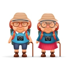 Old Backpacker Couple Photo Camera 3d Travel vector image vector image