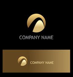 round abstract loop gold company logo vector image
