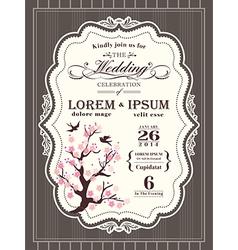Vintage cherry blossom Wedding invitation card vector image vector image