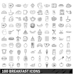 100 breakfast icons set outline style vector image