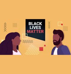 african american man woman against racial vector image