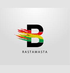 B letter logo with splatter and rasta color vector