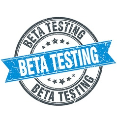 Beta testing blue round grunge vintage ribbon vector