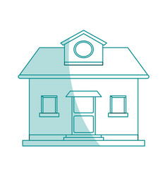 blue shading silhouette cartoon facade comfortable vector image