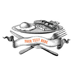 breakfast with ribbon logo hand draw vintage vector image
