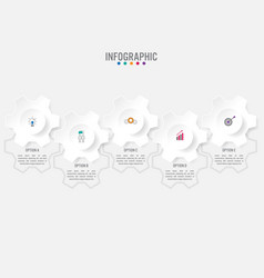 business infographic template with 5 options gear vector image