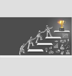business people team silhouettes climbing up vector image