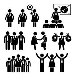 businesswoman female ceo stick figure pictograph vector image