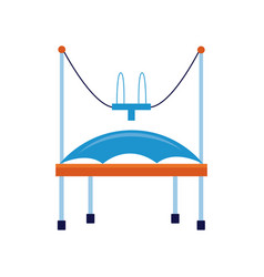Cartoon bungee trampoline with safety harness vector