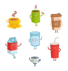 cartoon cute drink characters isolated on white vector image