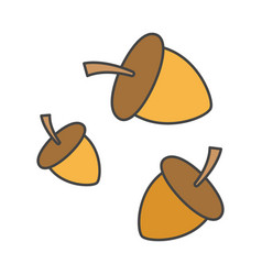 cartoon forest ripe acorns isolated vector image