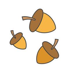 Cartoon forest ripe acorns isolated vector