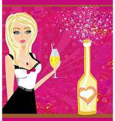 Champagne bottle and beautiful girl with vector image