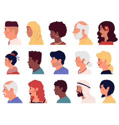 Character profiles cartoon people face side vector