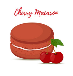 Cherry macaron with meringue cream vector