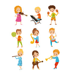 Children playing music instrument talented little vector