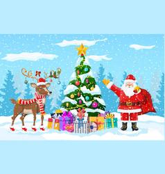 christmas santa claus reindeer vector image