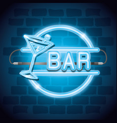 cocktail drink neon label vector image