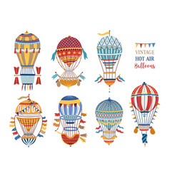 collection vintage hot air balloons of vector image