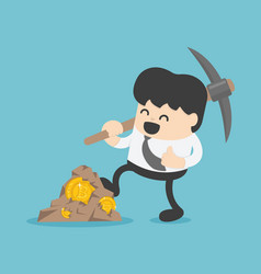 Concept with businessman miner and coins working vector