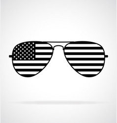 Cool aviator sunglasses with usa flag black white vector