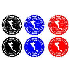 corfu rubber stamp vector image