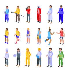 crew icons set isometric style vector image